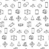 Vector o teste padrão do esboço tirado da forma mão geométrica no fundo branco Imagem de Stock Royalty Free