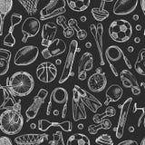 Vector o teste padrão do material desportivo ou o fundo tirado mão do quadro ilustração do vetor