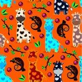 Vector o teste padrão dos seamles com girafas, camaleões, ramos ilustração royalty free