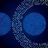 Vector o teste padrão eletrônico com esquema do microchip, cir luminescente Imagem de Stock Royalty Free