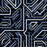 Vector o teste padrão eletrônico com esquema do microchip, cir luminescente Imagens de Stock Royalty Free
