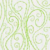Vector o teste padrão floral com linhas e espirais onduladas verde Fotos de Stock Royalty Free