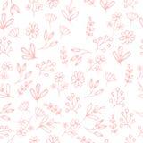 Vector o teste padrão floral no estilo da garatuja com flores e folhas Imagem de Stock Royalty Free