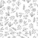 Vector o teste padrão floral no estilo da garatuja com flores e folhas Foto de Stock Royalty Free