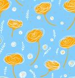 Vector o teste padrão floral no estilo da garatuja com flores e folhas Dome, salte fundo floral Imagem de Stock Royalty Free