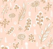 Vector o teste padrão floral no estilo da garatuja com flores e folhas Dome, salte fundo floral Imagens de Stock Royalty Free