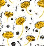 Vector o teste padrão floral no estilo da garatuja com flores e folhas Dome, salte fundo floral Foto de Stock Royalty Free