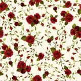 Vector o teste padrão floral sem emenda com as rosas vermelhas no backgroun claro ilustração stock
