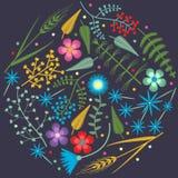 Vector o teste padrão redondo do bordado com plantas da floresta e wildflowers do campo Foto de Stock