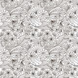 Vector o teste padrão sem emenda abstrato de ornamento da natureza do esboço ilustração de livro para colorir Fotografia de Stock Royalty Free