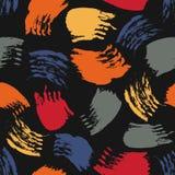 Vector o teste padrão sem emenda colorido com cursos e pontos da escova Cor alaranjada vermelha do cinza azul no fundo preto Mão ilustração do vetor