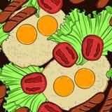 Vector o teste padrão sem emenda colorido do café da manhã delicioso saudável Imagem de Stock