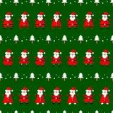Vector o teste padrão sem emenda com a árvore engraçada de Papai Noel e de abeto Imagem de Stock