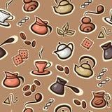 Vector o teste padrão sem emenda com ícones do café e do chá Fotos de Stock Royalty Free