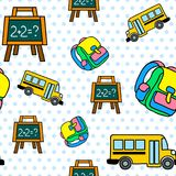 Vector o teste padrão sem emenda com ônibus escolar, quadro e backbag Imagens de Stock Royalty Free