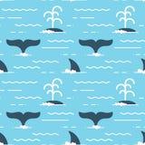 Vector o teste padrão sem emenda com as aletas da baleia sobre a água Fotos de Stock