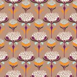 Vector o teste padrão sem emenda com as flores minimalistic no estilo retro ilustração stock