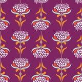 Vector o teste padrão sem emenda com as flores minimalistic no estilo retro ilustração royalty free