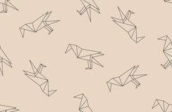 Vector o teste padrão sem emenda com as silhuetas lineares dos pássaros do corvo do preto japonês do origâmi Fotografia de Stock