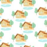 Vector o teste padrão sem emenda com casas, árvores e lagos Foto de Stock