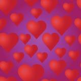 Vector o teste padrão sem emenda com corações vermelhos no fundo roxo Fotos de Stock Royalty Free