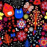 Vector o teste padrão sem emenda com flor, gato, e casa, dood dos desenhos animados Imagens de Stock Royalty Free