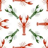 Vector o teste padrão sem emenda com lagostas ou lagostas em cores vermelhas e verdes Fotos de Stock Royalty Free