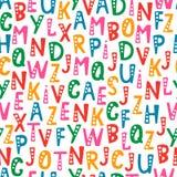 Vector o teste padrão sem emenda com letras do alfabeto na ordem aleatória ilustração royalty free