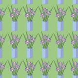 Vector o teste padrão sem emenda com os ramalhetes de flores da íris Imagem de Stock Royalty Free