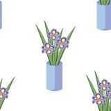 Vector o teste padrão sem emenda com os ramalhetes de flores da íris no va azul Fotografia de Stock Royalty Free