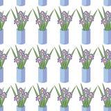 Vector o teste padrão sem emenda com os ramalhetes de flores da íris no vaso azul Imagem de Stock