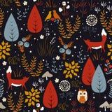 Vector o teste padrão sem emenda com plantas, pássaros, e raposas da floresta Fundo do outono ilustração royalty free