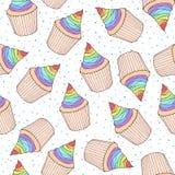 Vector o teste padrão sem emenda com queques e queques com arco-íris c Imagens de Stock