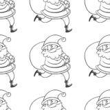 Vector o teste padrão sem emenda com Santa Claus com saco grande Tração da mão Fotos de Stock