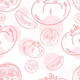 Vector o teste padrão sem emenda com tomate e sua fatia Imagens de Stock
