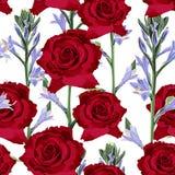 Vector o teste padrão sem emenda da flor da mola com flores violetas e as rosas vermelhas Imagem de Stock