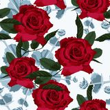 Vector o teste padrão sem emenda da flor da mola com plantas carnudas e as rosas vermelhas Fotos de Stock