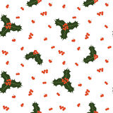 Vector o teste padrão sem emenda do Natal com bagas e folhas do azevinho Imagens de Stock Royalty Free