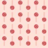 Vector o teste padrão sem emenda do pirulito vermelho no fundo cor-de-rosa ilustração royalty free