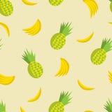 Vector o teste padrão sem emenda do verão com abacaxis e bananas Imagens de Stock Royalty Free