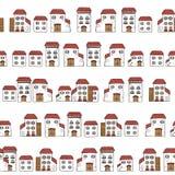 Vector o teste padrão sem emenda dos desenhos animados, feito de casas da coleção no estilo europeu velho fachadas brancas e telh ilustração stock