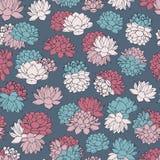 Vector o teste padrão sem emenda dos lírios em cores pastel cor-de-rosa, vermelhas e azuis no fundo da marinha Design floral do v Fotografia de Stock Royalty Free