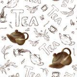 Vector o teste padrão sem emenda em um esboço branco do fundo dos artigos para o tea party bule 3d e copo Ilustração Royalty Free