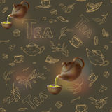 Vector o teste padrão sem emenda em um esboço escuro do ouro do fundo dos artigos para o tea party bule 3d e copo, doces, limão Imagens de Stock