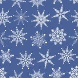 Vector o teste padrão sem emenda Floco de neve branco delicado do país das maravilhas do inverno de cristal no fundo azul ilustração royalty free