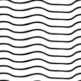 Vector o teste padrão sem emenda Linhas onduladas irregulares horizontais preto e branco Ilusão ótica Aperfeiçoe para fundos ilustração stock