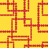 Vector o teste padrão sem emenda Quadrados das bolas vermelhas no fundo amarelo Fotos de Stock Royalty Free
