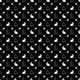Vector o teste padrão sem emenda Textura dos ícones do coelho Fundo preto e branco Projeto monocromático ilustração do vetor