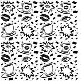Vector o teste padrão sem emenda tirado mão da tinta com olho da mulher, os olhos fechados e o copo de café com batom Projeto pre ilustração royalty free