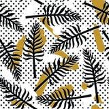 Vector o teste padrão sem emenda tropical com as plantas exóticas no fundo abstrato simples Fotografia de Stock Royalty Free